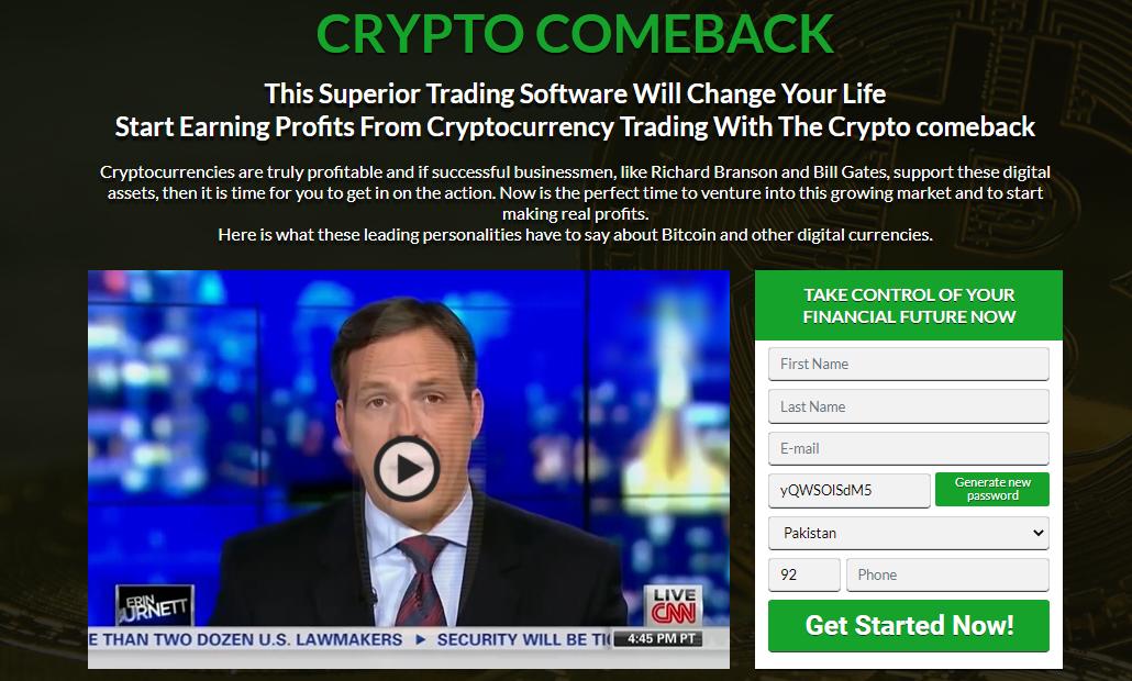 Crypto comeback homepage