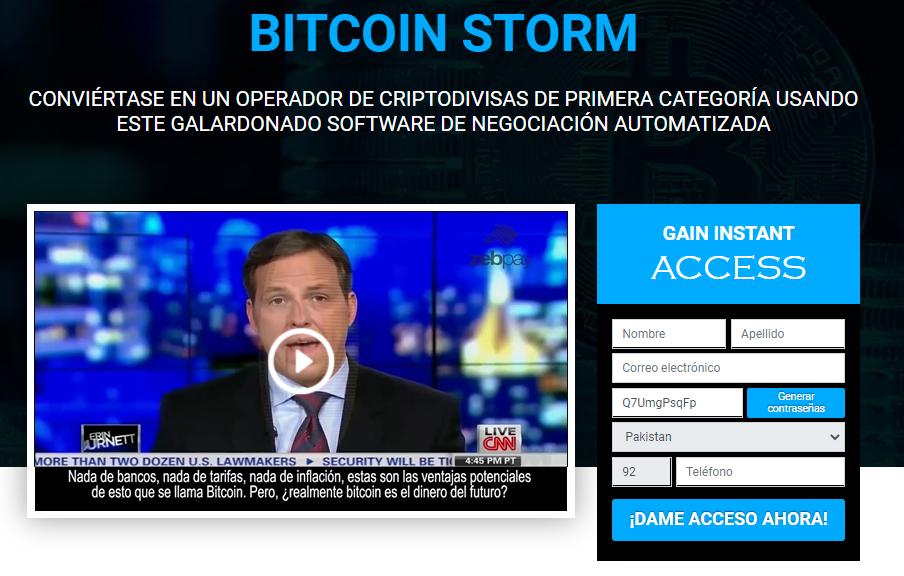 BITCOIN STORM homepage