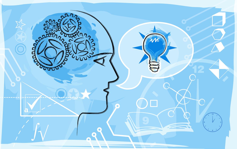 Montaje de ilustración basado en educación y conocimiento en azul